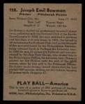 1939 Play Ball #128  Joe Bowman  Back Thumbnail