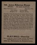 1939 Play Ball #132  Jim Brown  Back Thumbnail
