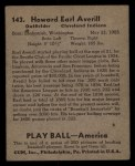 1939 Play Ball #143  Earl Averill  Back Thumbnail