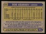1987 Topps #498  Bob Kearney  Back Thumbnail