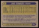 1987 Topps #27  Joe Cowley  Back Thumbnail