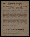 1939 Play Ball #101  Doc Cramer  Back Thumbnail