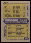 1987 Topps #581   Cubs Team Back Thumbnail