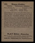 1939 Play Ball #117  Wayne Ambler  Back Thumbnail