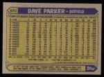 1987 Topps #691  Dave Parker  Back Thumbnail