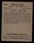 1939 Play Ball #148  Bill Trotter  Back Thumbnail