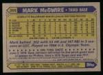 1987 Topps #366  Mark McGwire  Back Thumbnail
