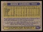 1987 Topps #340  Roger Clemens  Back Thumbnail