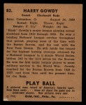 1940 Play Ball #82  Hank Gowdy  Back Thumbnail