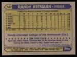 1987 Topps #147  Randy Niemann  Back Thumbnail