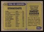 1987 Topps #603   -  Dwight Gooden All-Star Back Thumbnail