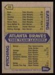 1987 Topps #31   Braves Team Back Thumbnail