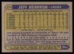 1987 Topps #274  Jeff Hearron  Back Thumbnail