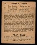 1940 Play Ball #36  Jim Tabor  Back Thumbnail