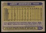 1987 Topps #503  Larry Andersen  Back Thumbnail