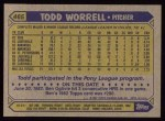 1987 Topps #465  Todd Worrell  Back Thumbnail