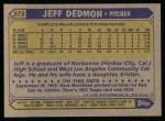 1987 Topps #373  Jeff Dedmon  Back Thumbnail