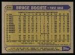1987 Topps #496  Bruce Bochte  Back Thumbnail