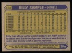 1987 Topps #104  Billy Sample  Back Thumbnail