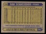 1987 Topps #789  Dan Schatzeder  Back Thumbnail