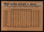 1988 Topps #329  Chris Speier  Back Thumbnail