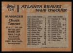 1988 Topps #134  Chuck Tanner  Back Thumbnail