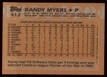1988 Topps #412  Randy Myers  Back Thumbnail
