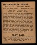 1940 Play Ball #192  Dick Siebert  Back Thumbnail