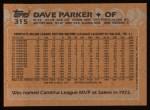 1988 Topps #315  Dave Parker  Back Thumbnail