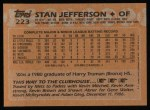 1988 Topps #223  Stan Jefferson  Back Thumbnail