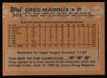 1988 Topps #361  Greg Maddux  Back Thumbnail