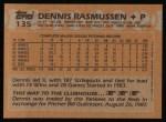 1988 Topps #135  Dennis Rasmussen  Back Thumbnail