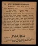 1940 Play Ball #90  Frank Demaree  Back Thumbnail