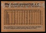 1988 Topps #357  Floyd Bannister  Back Thumbnail