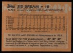 1988 Topps #478  Sid Bream  Back Thumbnail