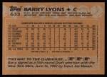 1988 Topps #633  Barry Lyons  Back Thumbnail