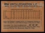 1988 Topps #451  Keith Atherton  Back Thumbnail