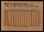 1988 Topps #385  Carlton Fisk  Back Thumbnail