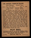 1940 Play Ball #199  Pinky Higgins  Back Thumbnail