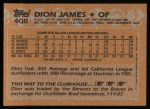 1988 Topps #408  Dion James  Back Thumbnail