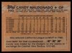 1988 Topps #190  Candy Maldonado  Back Thumbnail
