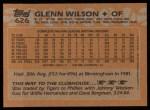 1988 Topps #626  Glenn Wilson  Back Thumbnail