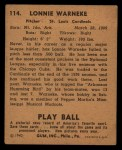 1940 Play Ball #114  Lonnie Warneke  Back Thumbnail