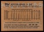 1988 Topps #175  Kevin Bass  Back Thumbnail