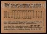 1988 Topps #113  Kelly Gruber  Back Thumbnail