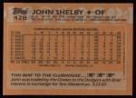 1988 Topps #428  John Shelby  Back Thumbnail