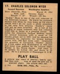 1940 Play Ball #17  Buddy Myer  Back Thumbnail