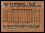 1988 Topps #37  Ed Romero  Back Thumbnail