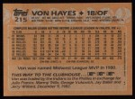 1988 Topps #215  Von Hayes  Back Thumbnail