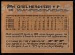 1988 Topps #40  Orel Hershiser  Back Thumbnail